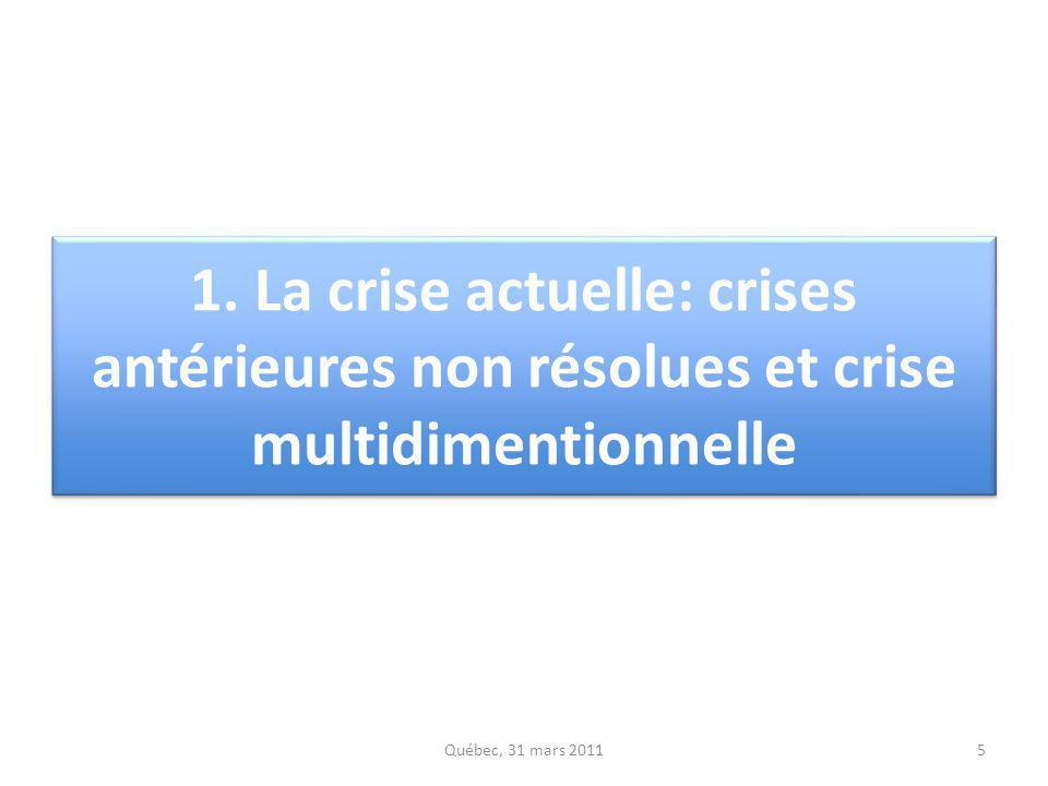 1. La crise actuelle: crises antérieures non résolues et crise multidimentionnelle