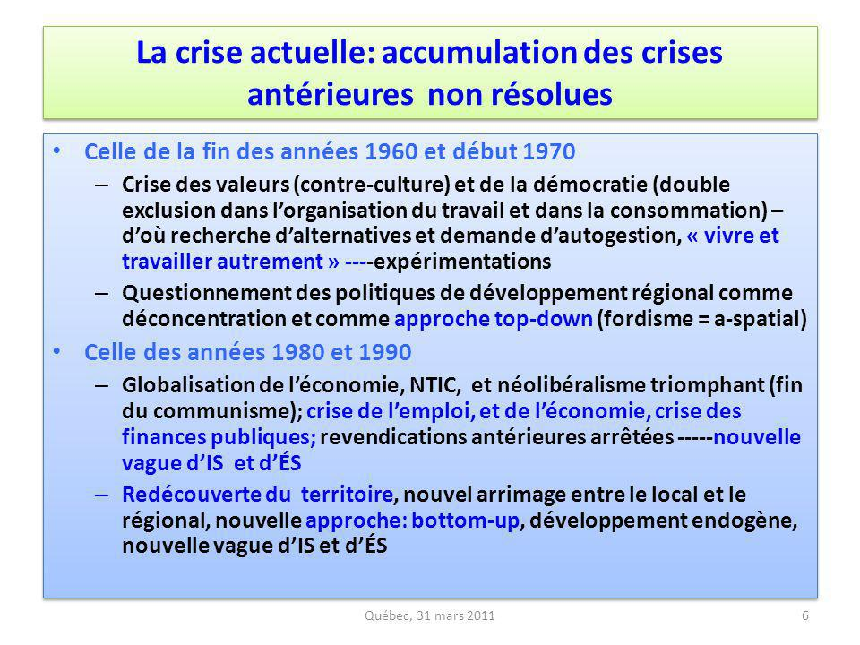 La crise actuelle: accumulation des crises antérieures non résolues