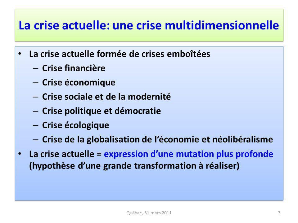 La crise actuelle: une crise multidimensionnelle