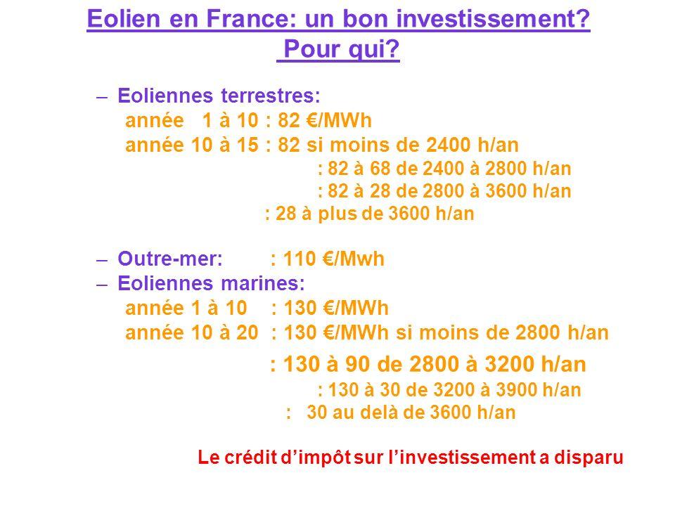Eolien en France: un bon investissement Pour qui