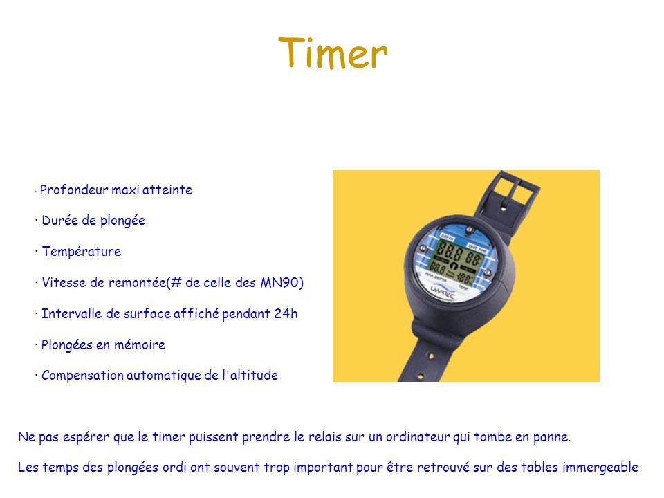 Timer · Durée de plongée · Température