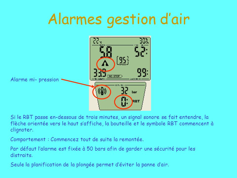 Alarmes gestion d'air Alarme mi- pression