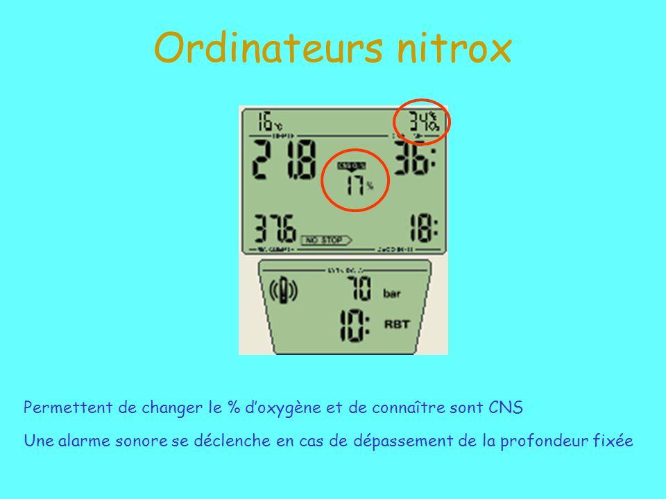 Ordinateurs nitrox Permettent de changer le % d'oxygène et de connaître sont CNS.