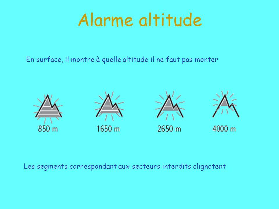 Alarme altitude En surface, il montre à quelle altitude il ne faut pas monter.