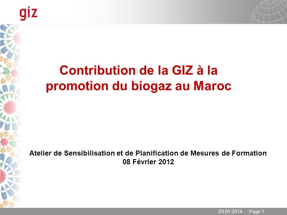 Contribution de la GIZ à la promotion du biogaz au Maroc