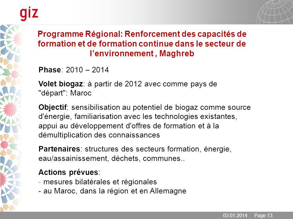 Programme Régional: Renforcement des capacités de formation et de formation continue dans le secteur de l'environnement , Maghreb