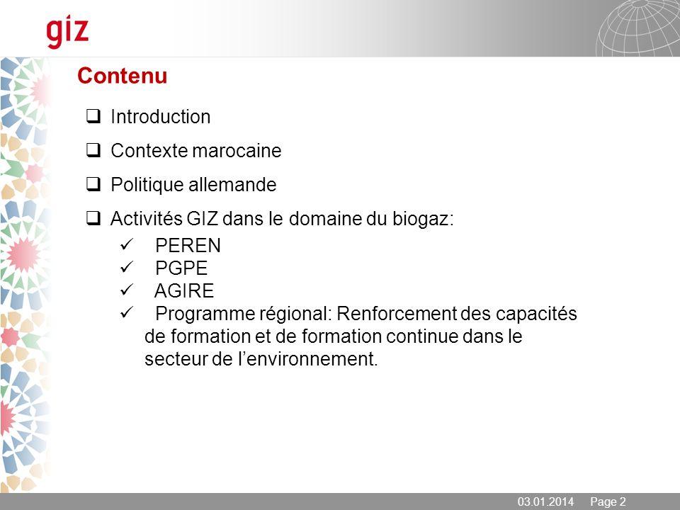 Contenu Introduction Contexte marocaine Politique allemande