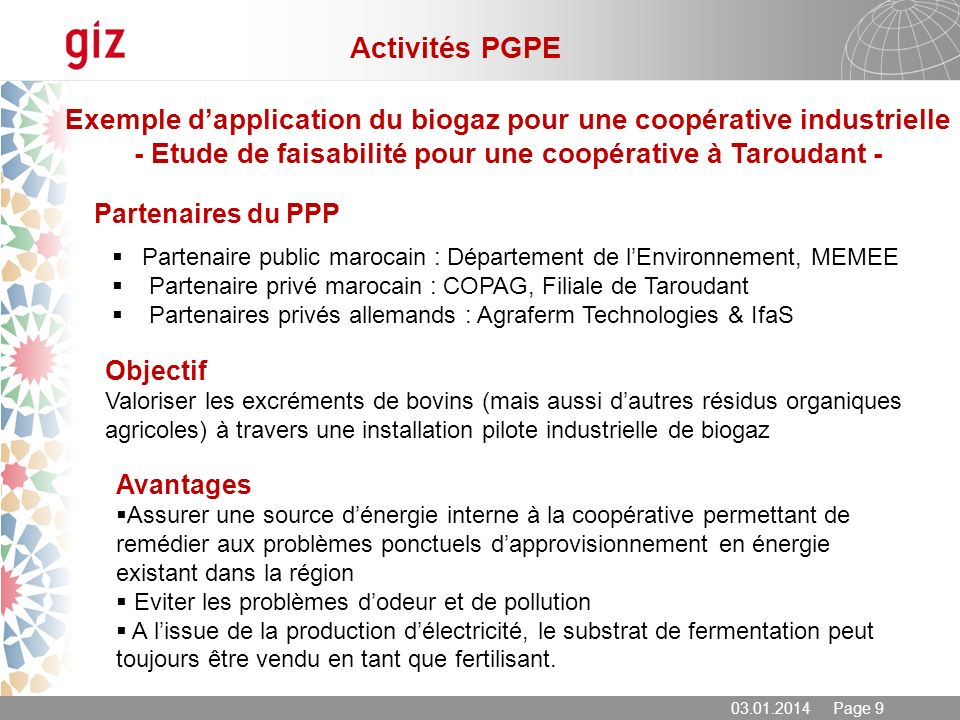 Activités PGPE Exemple d'application du biogaz pour une coopérative industrielle. - Etude de faisabilité pour une coopérative à Taroudant -