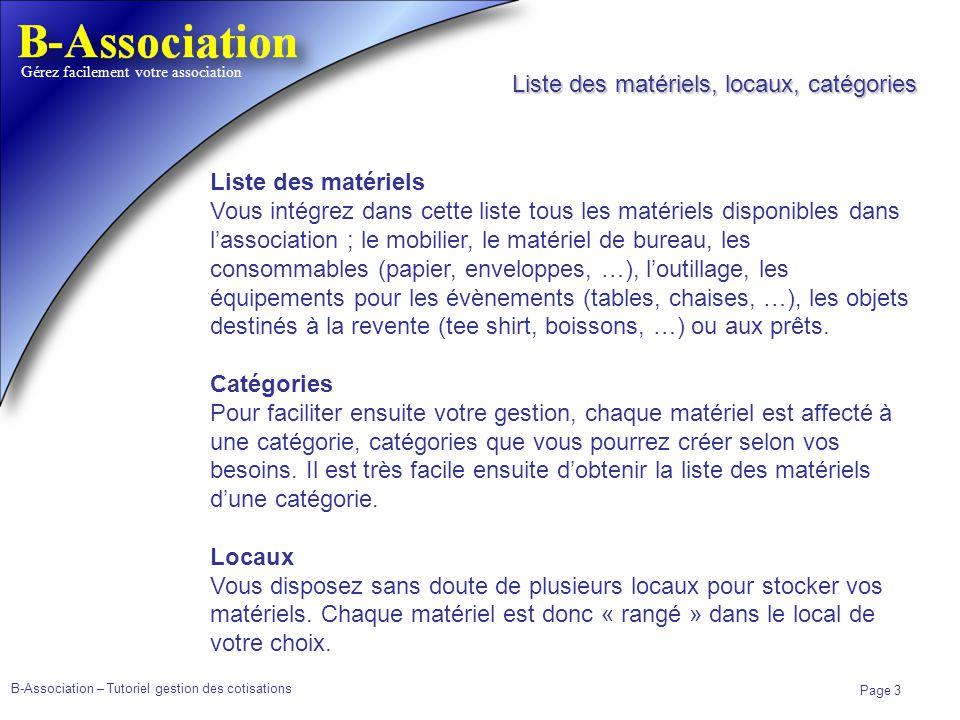 Liste des matériels, locaux, catégories