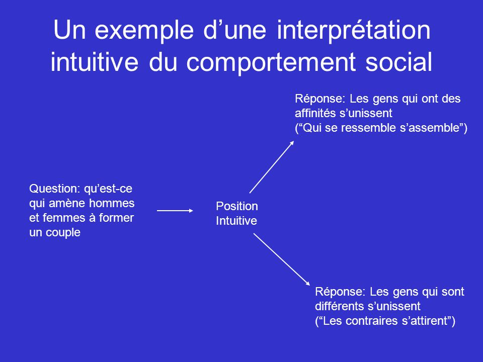 Un exemple d'une interprétation intuitive du comportement social
