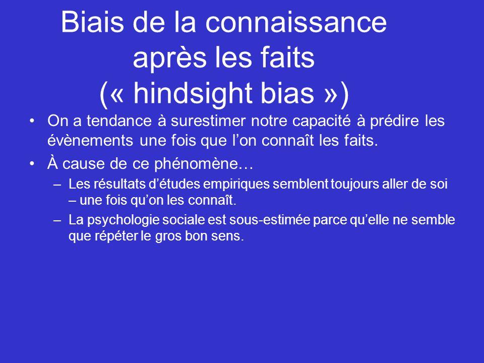 Biais de la connaissance après les faits (« hindsight bias »)