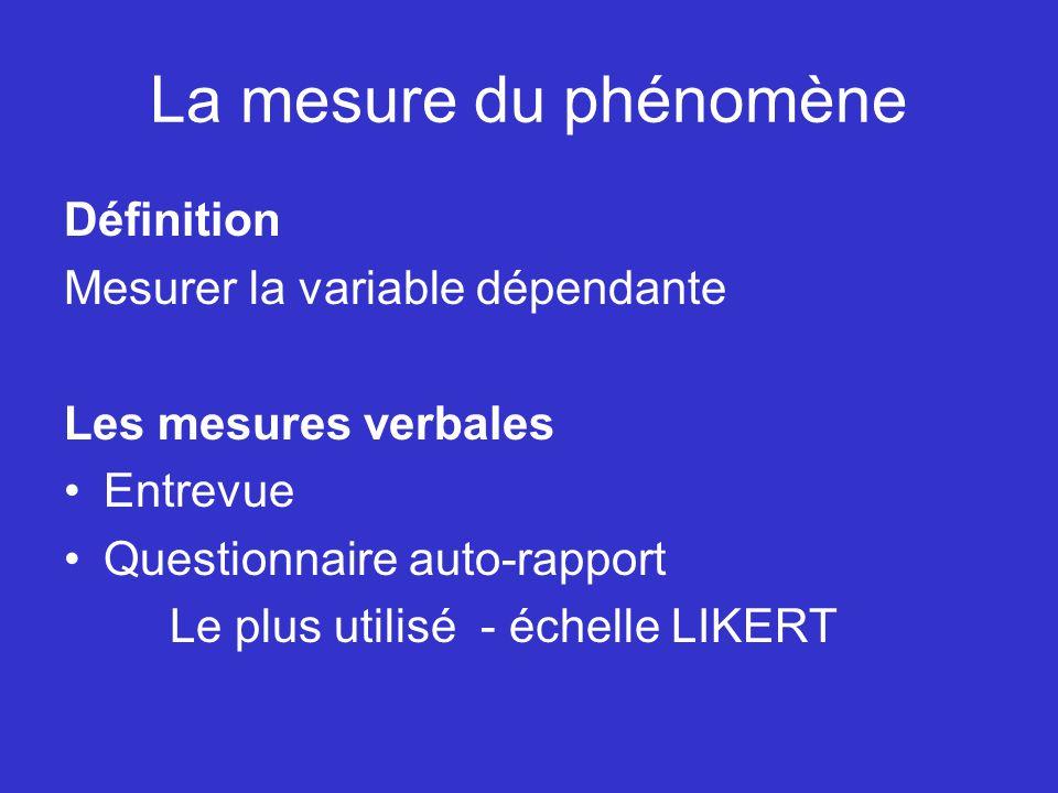 La mesure du phénomène Définition Mesurer la variable dépendante