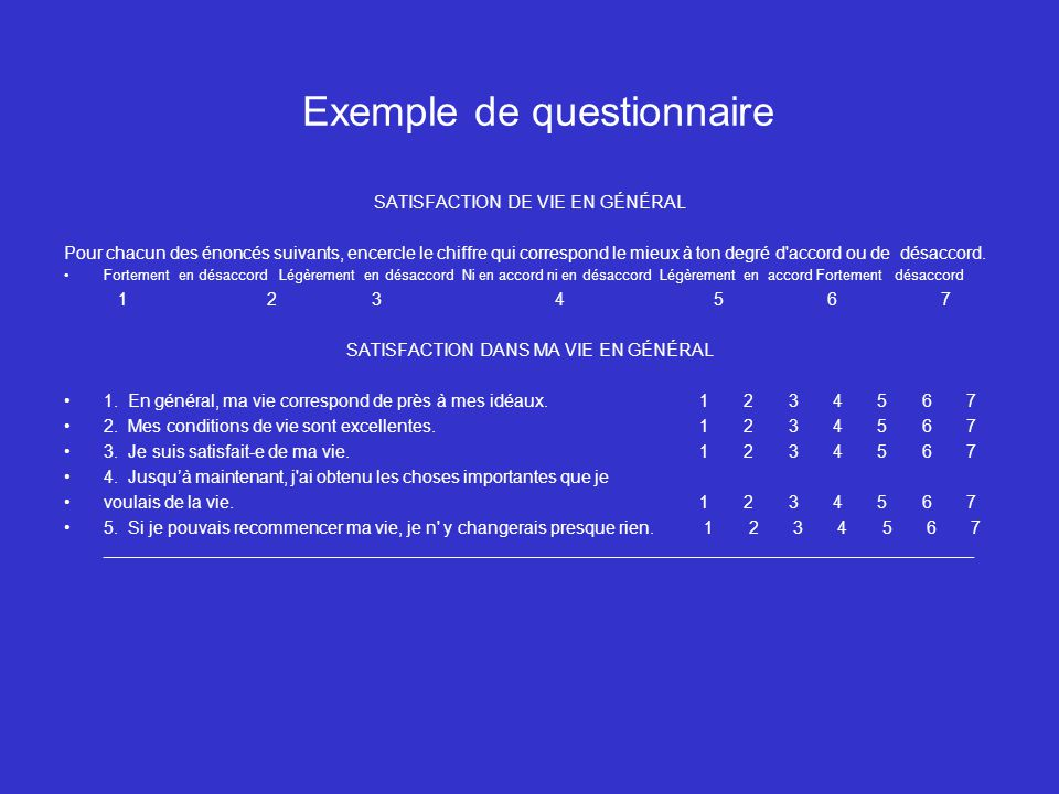 Exemple de questionnaire