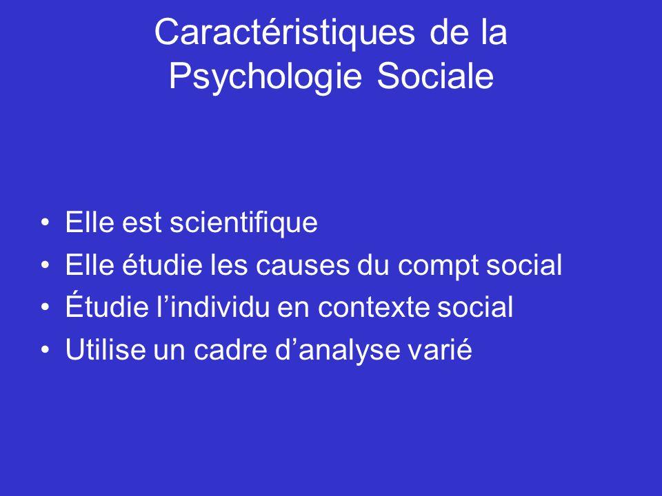 Caractéristiques de la Psychologie Sociale