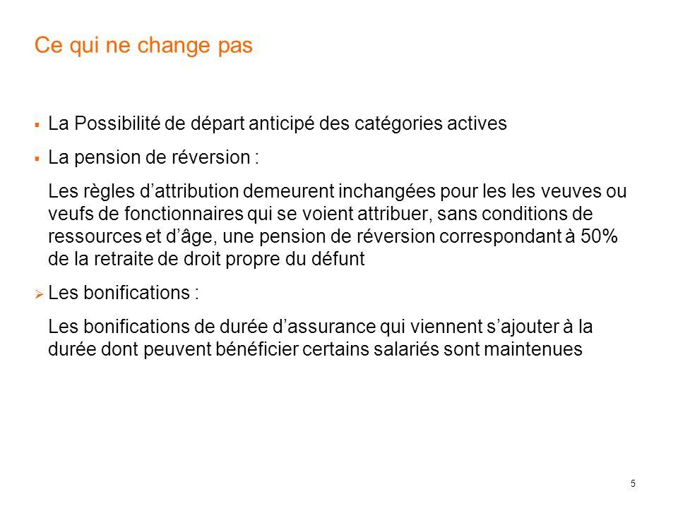 Ce qui ne change pasLa Possibilité de départ anticipé des catégories actives. La pension de réversion :