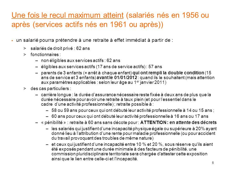 Une fois le recul maximum atteint (salariés nés en 1956 ou après (services actifs nés en 1961 ou après))