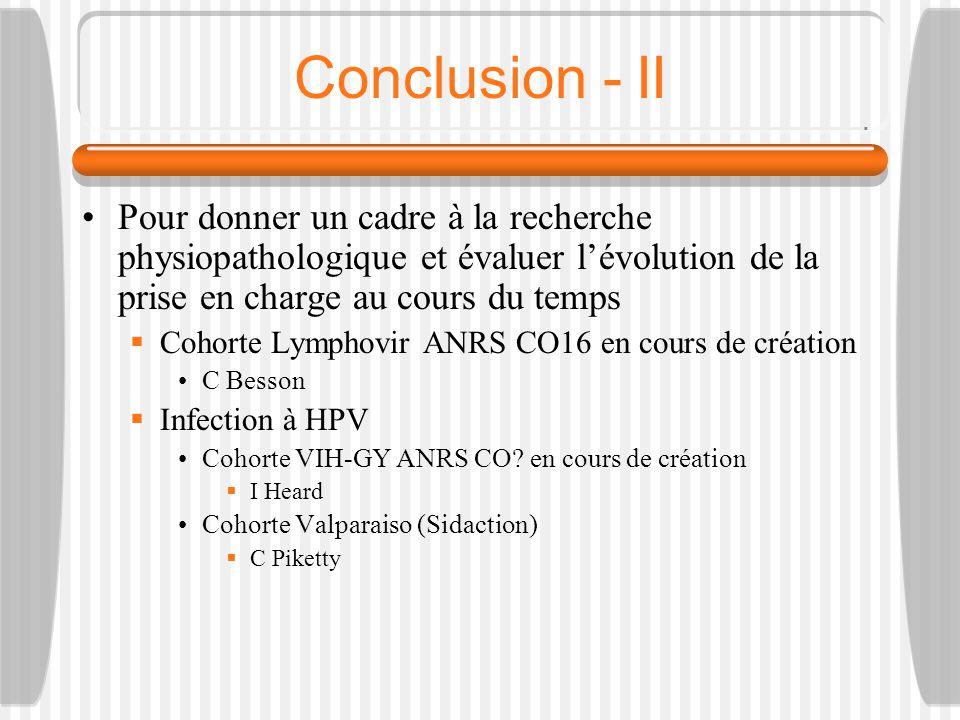 Conclusion - II Pour donner un cadre à la recherche physiopathologique et évaluer l'évolution de la prise en charge au cours du temps.