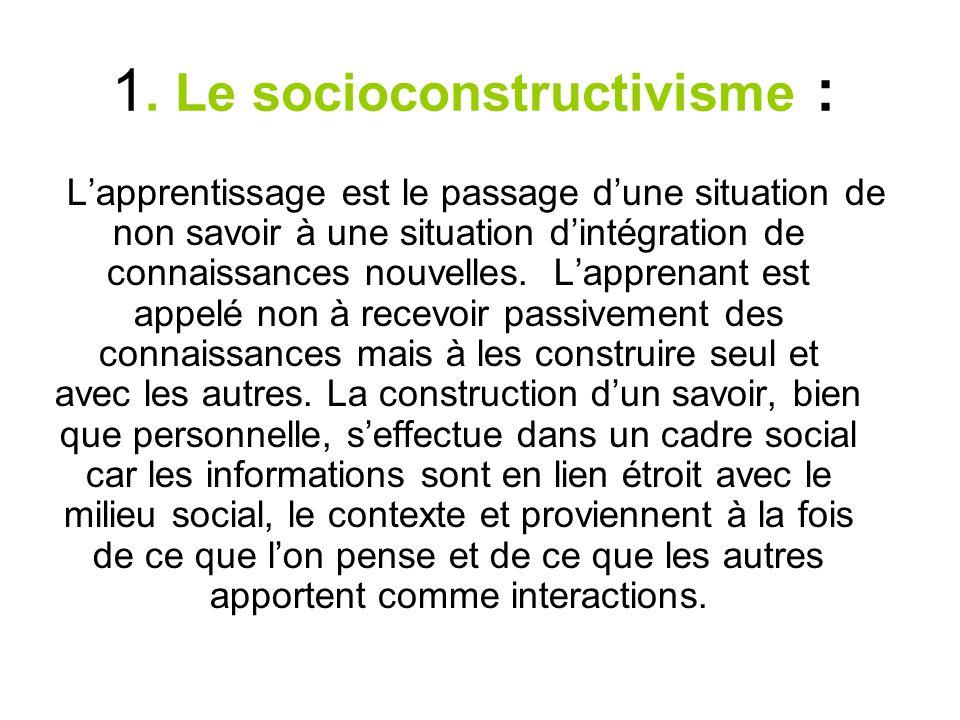 . Le socioconstructivisme : 1