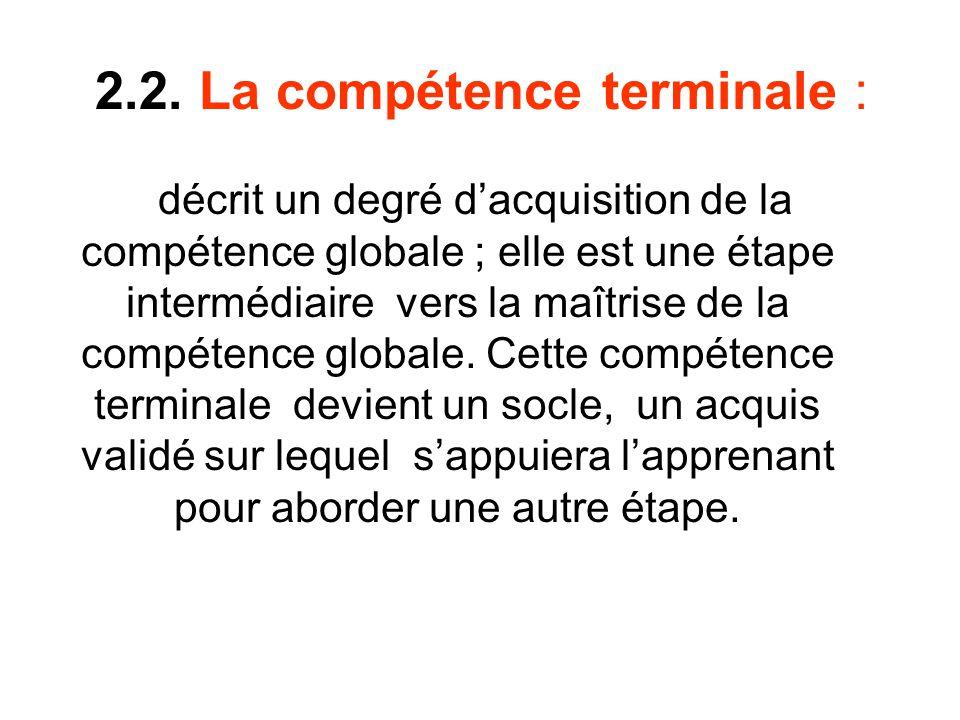 2.2. La compétence terminale :