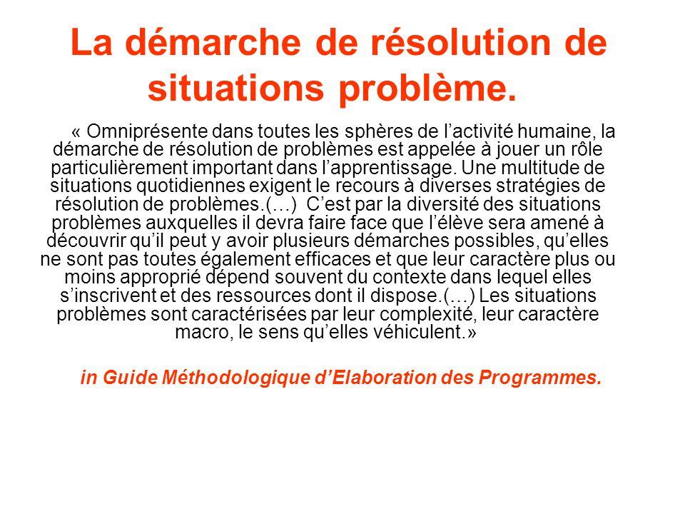 La démarche de résolution de situations problème.