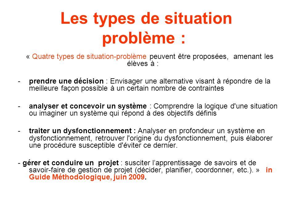 Les types de situation problème :
