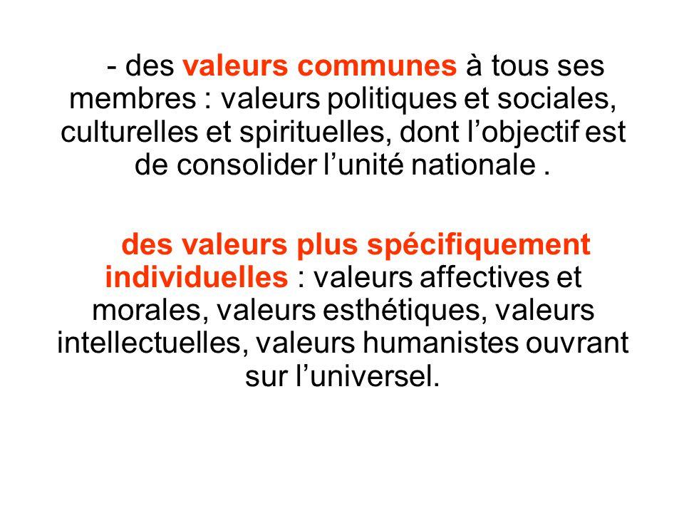 - des valeurs communes à tous ses membres : valeurs politiques et sociales, culturelles et spirituelles, dont l'objectif est de consolider l'unité nationale .