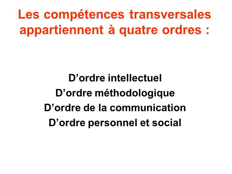 Les compétences transversales appartiennent à quatre ordres :
