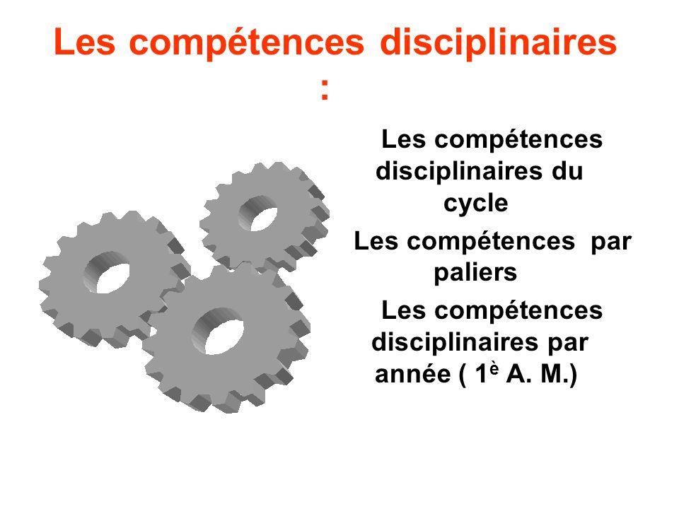 Les compétences disciplinaires :