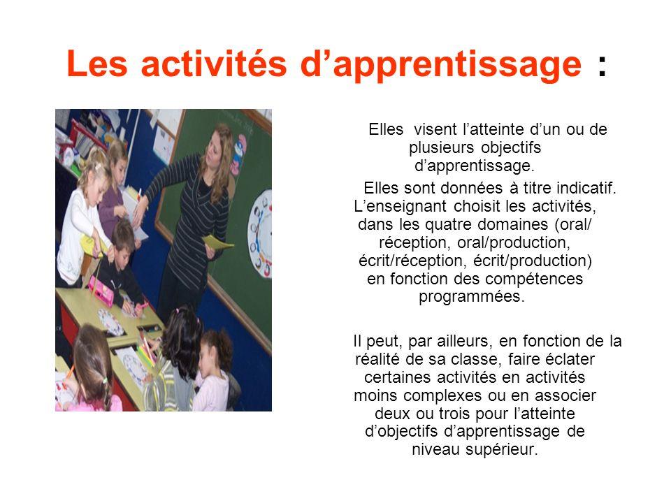Les activités d'apprentissage :