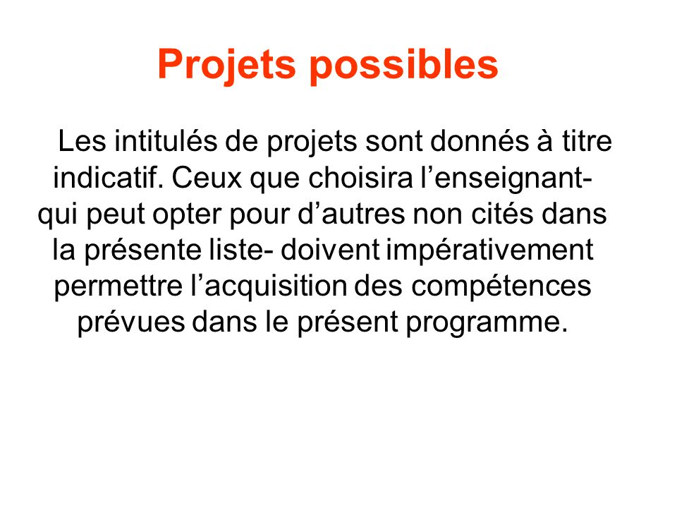 Projets possibles