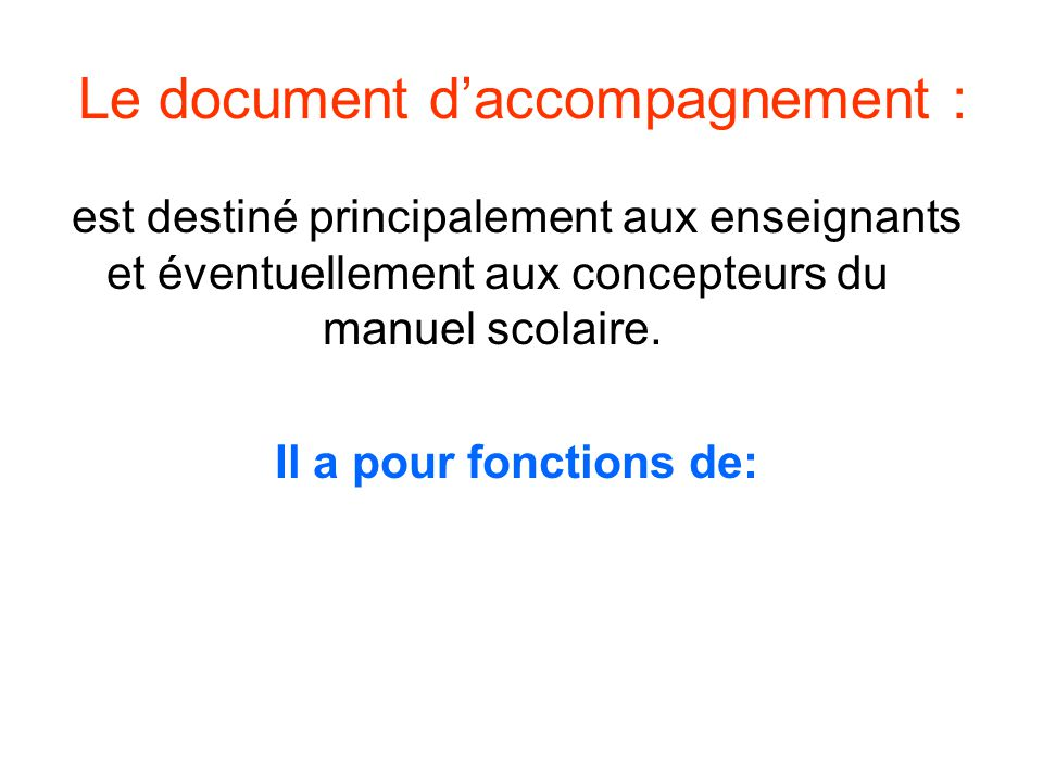 Le document d'accompagnement :
