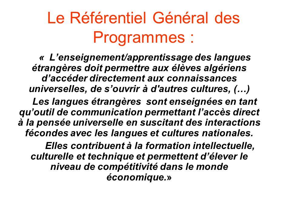 Le Référentiel Général des Programmes :