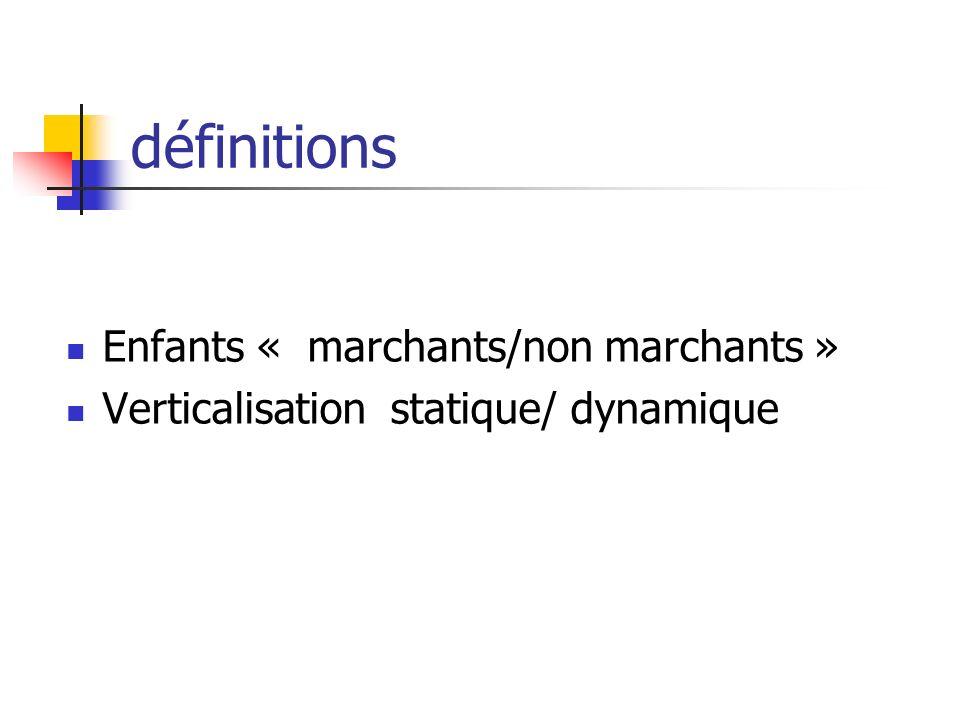 définitions Enfants « marchants/non marchants »