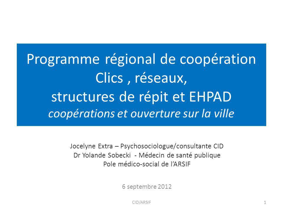 Programme régional de coopération Clics , réseaux, structures de répit et EHPAD coopérations et ouverture sur la ville