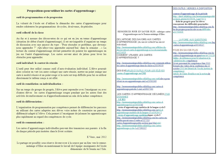 Propositions pour utiliser les cartes d apprentissage :