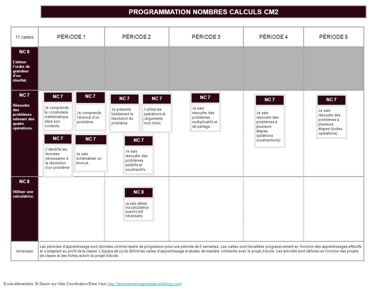 PROGRAMMATION NOMBRES CALCULS CM2
