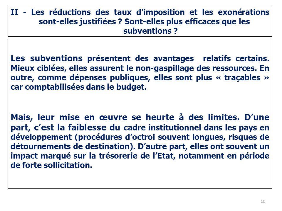 II - Les réductions des taux d'imposition et les exonérations