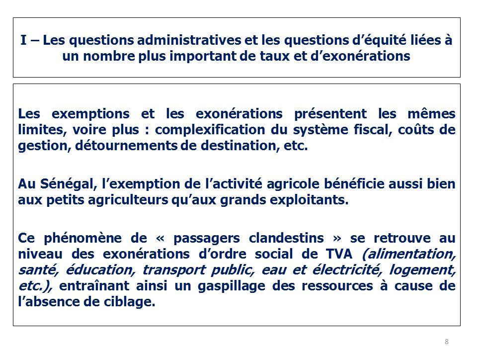 I – Les questions administratives et les questions d'équité liées à un nombre plus important de taux et d'exonérations