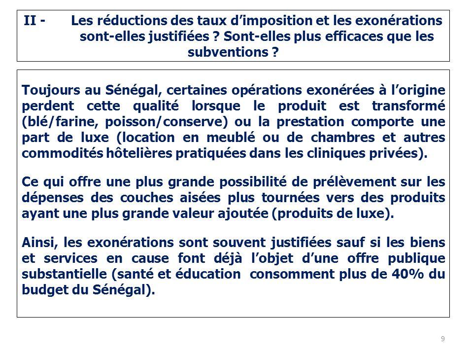 II -. Les réductions des taux d'imposition et les exonérations