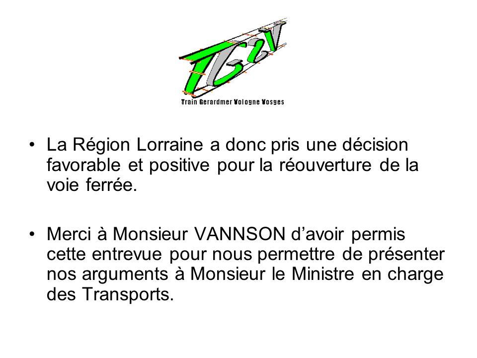 La Région Lorraine a donc pris une décision favorable et positive pour la réouverture de la voie ferrée.