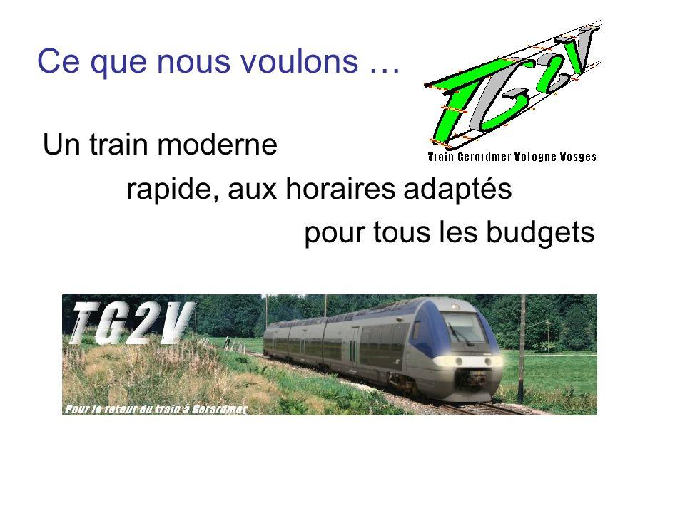 Ce que nous voulons … Un train moderne rapide, aux horaires adaptés
