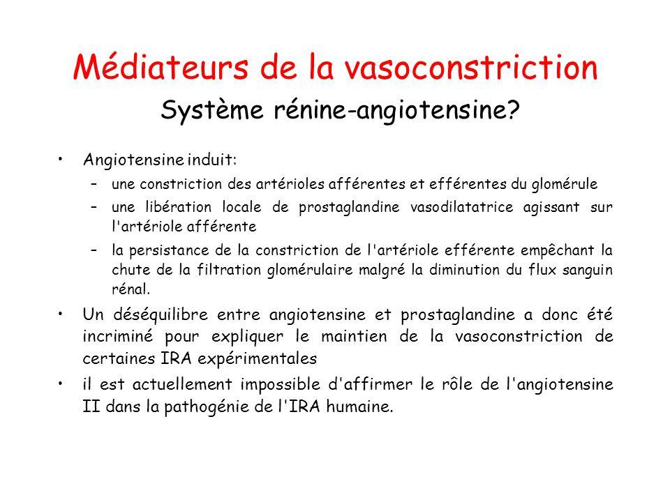 Médiateurs de la vasoconstriction Système rénine-angiotensine