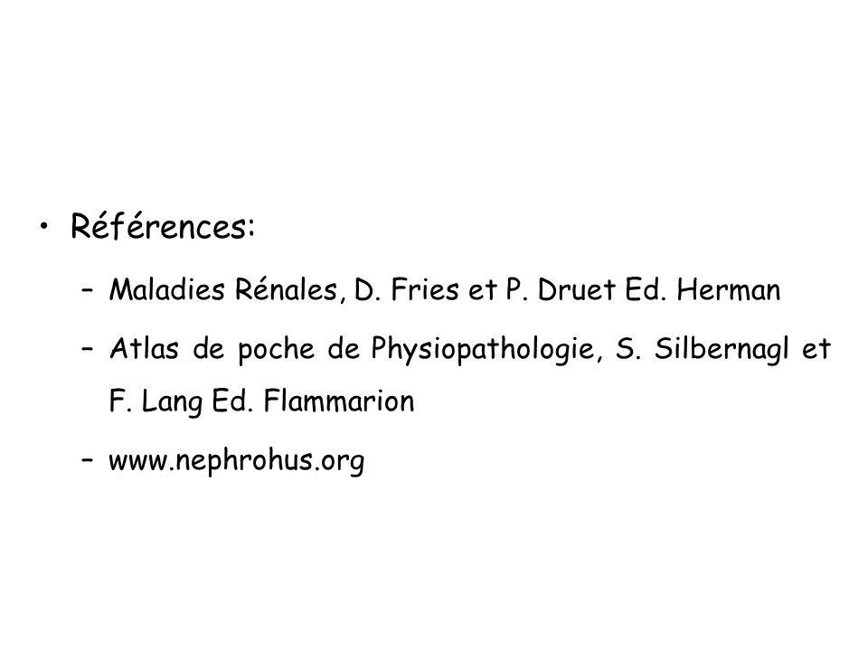 Références: Maladies Rénales, D. Fries et P. Druet Ed. Herman