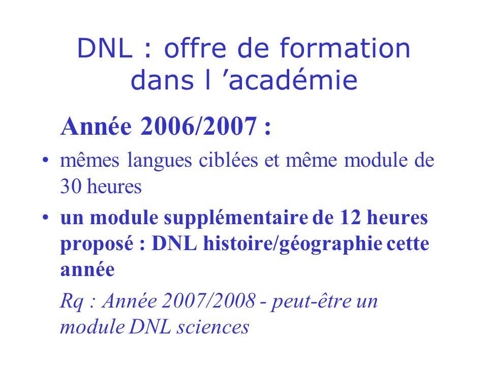 DNL : offre de formation dans l 'académie
