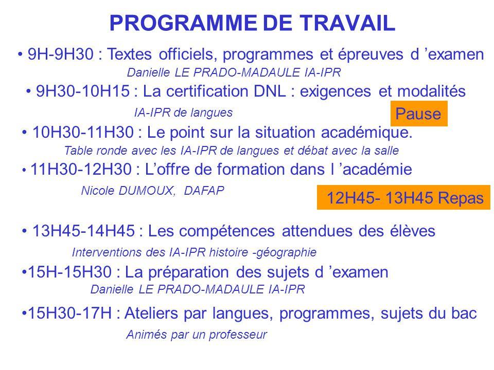 PROGRAMME DE TRAVAIL 9H-9H30 : Textes officiels, programmes et épreuves d 'examen. Danielle LE PRADO-MADAULE IA-IPR.