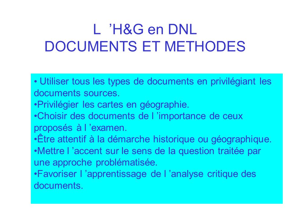 L 'H&G en DNL DOCUMENTS ET METHODES