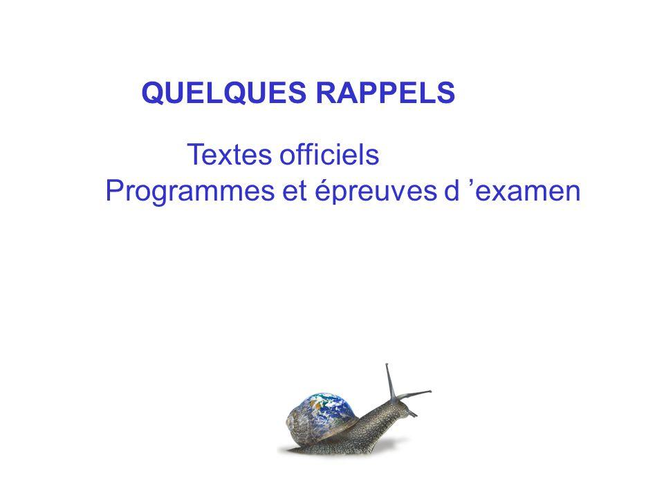 Programmes et épreuves d 'examen