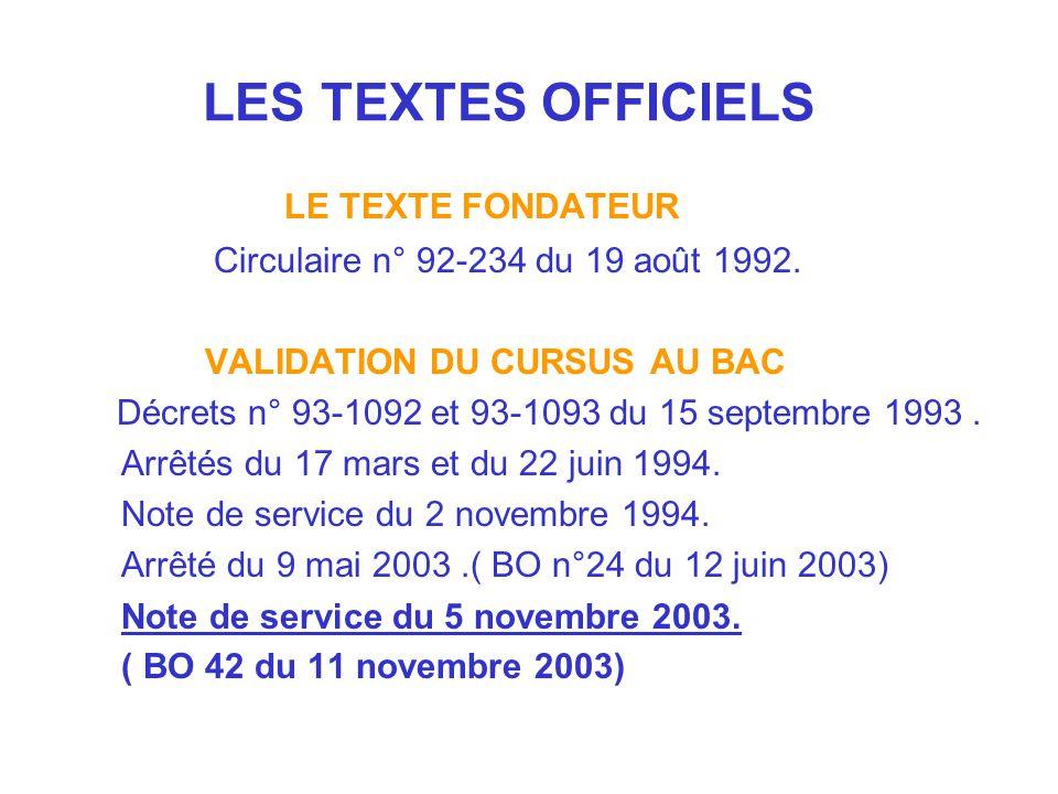 LES TEXTES OFFICIELS LE TEXTE FONDATEUR