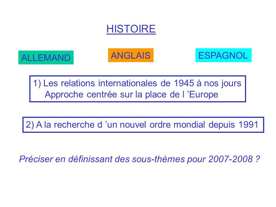 HISTOIRE ANGLAIS ESPAGNOL ALLEMAND