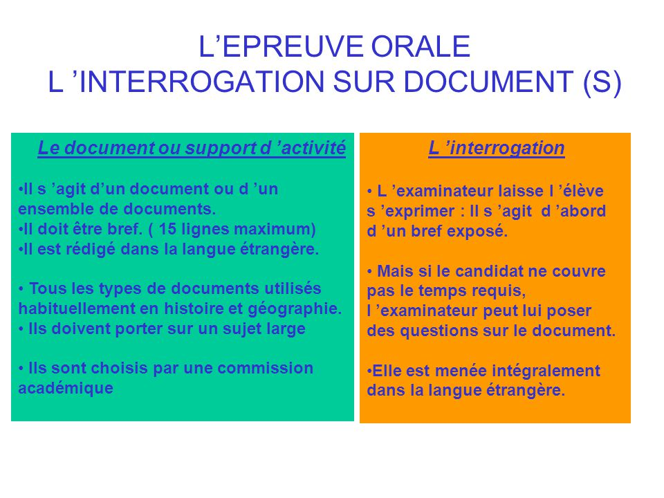 L'EPREUVE ORALE L 'INTERROGATION SUR DOCUMENT (S)